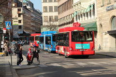 Bus stop and buses in Stockholm, Sweden. Royalty Free Stock Image
