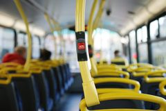 Bus Stop Button. Stop button on a London City Bus Royalty Free Stock Photography