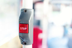 Bus stop button for getting off, selective focus.  Royalty Free Stock Image
