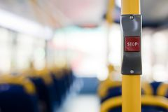 Bus stop button. London's double decker bus stop button to push for getting off at the next stop Royalty Free Stock Photo