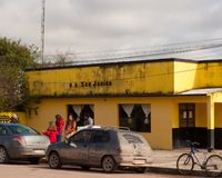 A bus stop car parking in South America, Uruguay, San Javier stock photography