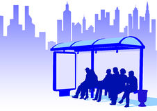 Bus stop in city Stock Image
