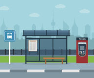 Bus stop with city background . Royalty Free Stock Photos