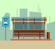 Bus stop in city landscape. Vector flat illustration Royalty Free Stock Photography