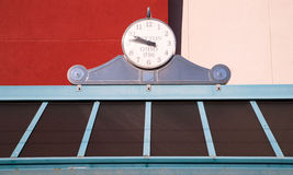 Bus Stop Clock Downtown Dayton Ohio United States. Clock on top of a bus stop bench station royalty free stock images