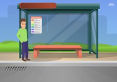 Bus stop concept background, cartoon style stock illustration
