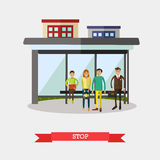 Bus stop concept vector illustration, flat design Stock Photography