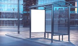 Bus stop 3d rendering. Blank white frame on a bus stop 3d rendering Stock Photography