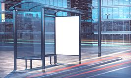 Bus stop 3d rendering long exposure. White blank frame on a bus stop 3d rendering Royalty Free Stock Photography