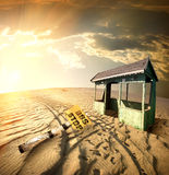 Bus stop in the desert. At sunset Stock Image