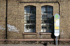Bus stop at a disused factory Royalty Free Stock Photo