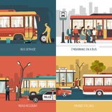 Bus Stop 4 Flat Icons Square Royalty Free Stock Photography