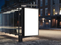 Bus stop with a glowing banner. 3d rendering. Bus stop with a glowing blank banner. 3d rendering Stock Photos
