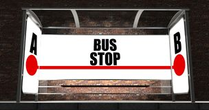 Bus stop with glowing billboard at night Royalty Free Stock Photos