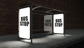 Bus stop with glowing billboard at night. Bus stop concept with glowing billboard at night Stock Photography