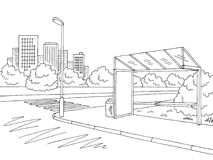 Bus stop graphic black white city street landscape sketch illustration vector. Bus stop graphic black white city street landscape sketch illustration Royalty Free Stock Images