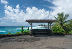 Bus stop by Hamoa Beach near Hana on Hawaiian island of Maui Royalty Free Stock Photo