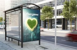 Bus stop honeymoon advertising billboard. Bus stop travel poster billboard on the street 3d rendering stock images