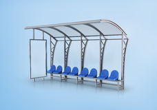 Bus stop isolated on blue background. Royalty Free Stock Images