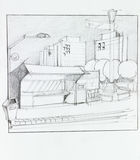Bus stop and kiosk, sketch. Hand drawn illustration of bus stop and residential place Royalty Free Stock Photo