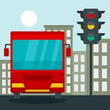 Bus at stop light concept background, flat style vector illustration