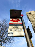 Bus stop in London Stock Image