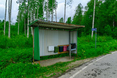 Bus stop with mail boxes, Lakeland region, Finland Royalty Free Stock Photography