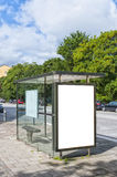 Bus stop in Malmo. An image of a bus stop with a blank bilboard for your advertising situated in the swedish city of Malmo Stock Images