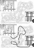 Bus stop maze. For kids with a solution in black and white stock illustration