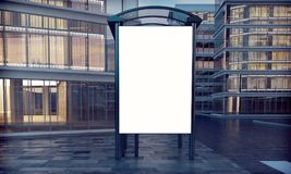 Bus stop. Mock up of blank white vertical lightbox on a bus stop 3d rendering Stock Photo