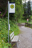 Bus stop in the mountains of Austria Stock Images