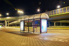 Bus stop. Near the bridge at night in Warsaw Royalty Free Stock Images