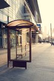 Bus stop near a shopping mall royalty free stock photography