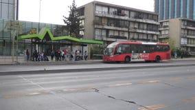 Santiago Bus. A bus stop in the neighborhood of Las Condes, in Santiago, Chile stock footage