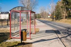 Bus stop nobody street Royalty Free Stock Photos