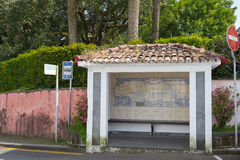 Bus Stop. With old ceramics in Furnas from the island of Azores in Portugal Royalty Free Stock Photos