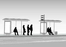 Bus stop people Stock Photo