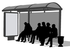 Bus stop people Stock Images