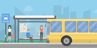 Bus stop with people. Bus stop with people and public transport. Urban landscape stock illustration