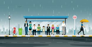 Bus stop. People are waiting at the bus stop when it rains stock illustration