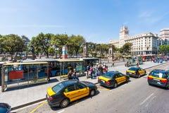 Bus stop at Plaza de Catalunya in Barcelona Stock Photo