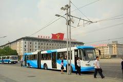 Bus stop, Pyongyang, North-Korea Royalty Free Stock Images