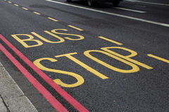 Bus stop road markings Stock Image
