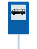 Bus stop road sign on pole post, traffic signage, blue isolated blank empty copy space, large detailed closeup Royalty Free Stock Photo