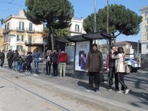 Bus stop in Rome stock photography