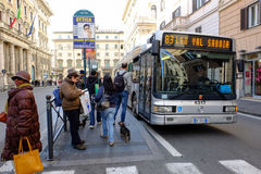 Bus stop in Rome Stock Images