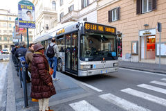 Bus stop in Rome Stock Photo