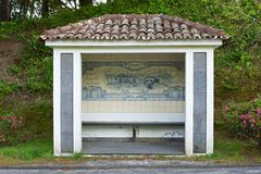Bus Stop Sao Miguel, The Azores Islands, Portugal Royalty Free Stock Photography