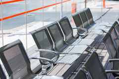 Bus stop seating places row Stock Image