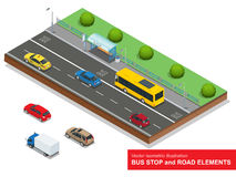 Bus stop. Set of the isometric bus, sedan, taxi, cargo, mini and bus stop. Stock Images